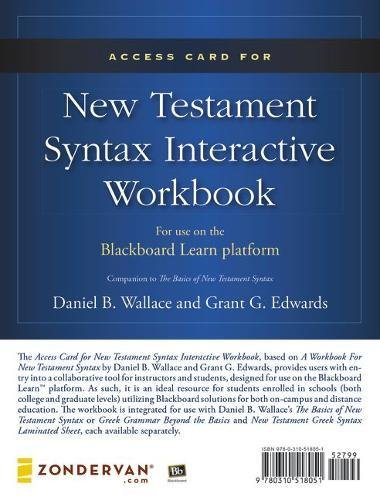 9780310518051: Access Card for New Testament Syntax Interactive Workbook - MBS Textbook Exchange: For Use on the Blackboard Learn Platform