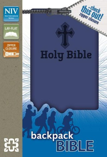 NIV, Backpack Zipper Bible, Imitation Leather, Blue,: Zondervan