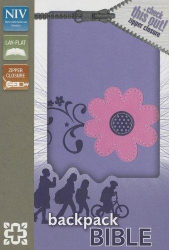 9780310738152: NIV, Backpack Zipper Bible, Imitation Leather, Purple/Pink, Red Letter