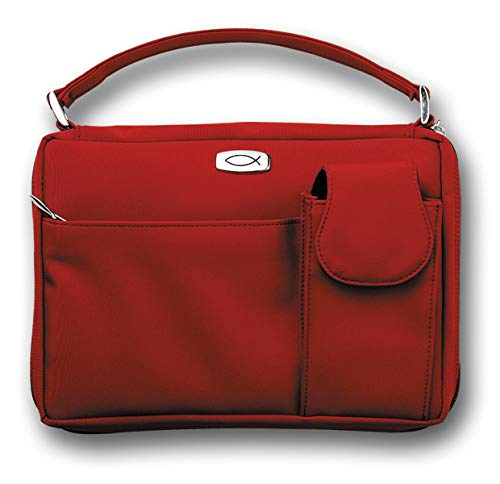 Microfiber Red with Exterior Pockets, LG Bible Cover: Zondervan