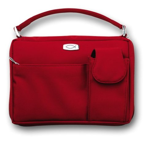 9780310803546: Microfiber Red with Exterior Pockets Med (Bible Covers)