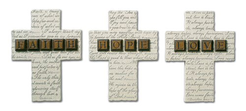 9780310803829: Faith, Hope, and Love Small Resin Cross Gift Set