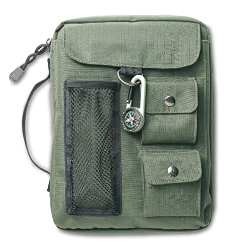 Compass Lg 9780310806592 Made from durable nylon material, this sporty Bible cover features multiple exterior pockets, a cool compass carabineer, durable zipper pulls, spine handle and interior pen and pencil holders. This cover will fit the Quest Study Bible, the Zondervan NIV Study Bible and The Student Bible as well as many other books and Bibles up to 6 7/8  x 9 5/8  (244mm x 175mm).