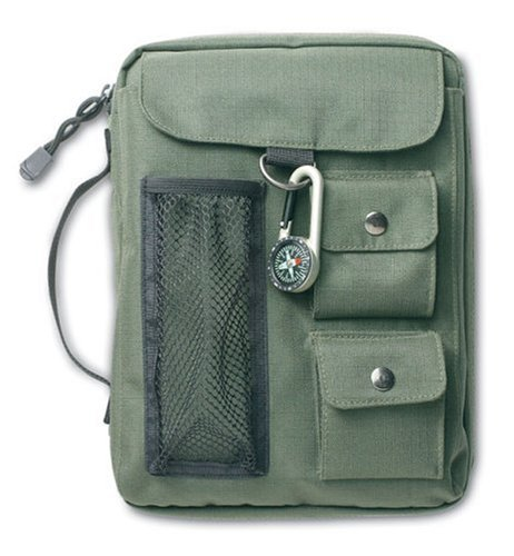 9780310806615: Olive green bible cover w/Compass XL