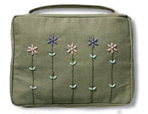 9780310807827: Beaded Flowers Canvas Book & Bible Cover (Olive Green)