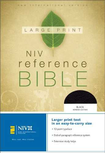 9780310905813: NIV Large Print Reference Bible, Personal Size (Black Bonded Leather)