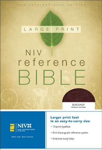 9780310906827: NIV Large Print Reference Bible, Personal Size, Thumb Indexed (Burgundy Bonded Leather)