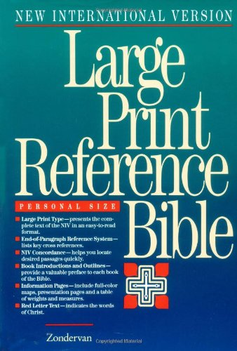 9780310906841: NIV Large Print Reference Bible, Personal Size, Thumb Indexed (Black Bonded Leather)