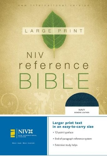 9780310908029: NIV Large Print Reference Bible, Personal Size (Navy Bonded Leather)
