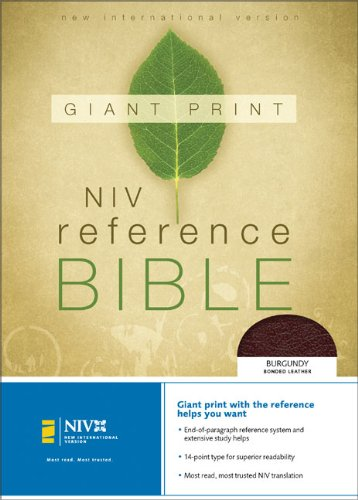 9780310908166: NIV Holy Bible Giant Print Reference Edition, Burgundy Bonded Leather