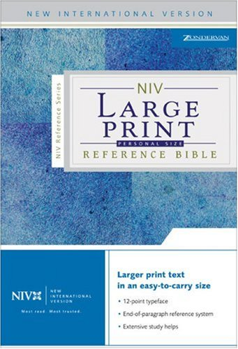 9780310908227: NIV Large Print Reference Bible, Personal Size, Thumb Indexed (Navy Bonded Leather)