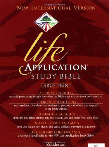 9780310917571: Holy Bible: Niv Life Application Bible/Large Print/Navy Bonded Leather/Plain