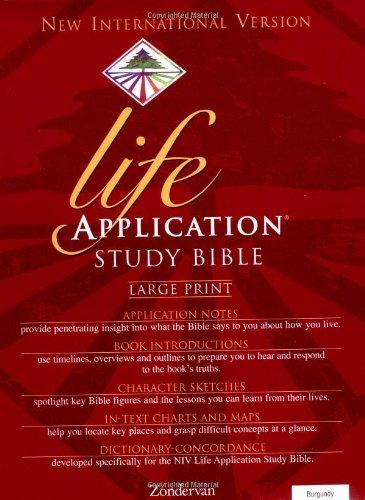 9780310917595: Holy Bible: New Internation Version Life Application Bible/ Large Print/ Burgundy Bonded Leather/ Plain