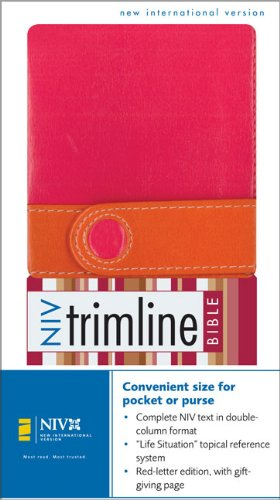 9780310923237: NIV Trimline Bible Limited Edition, Italian Duo Tone, Pink / Orange with Magnetic Closure