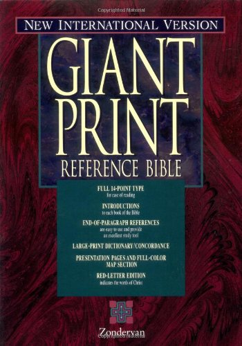 9780310924593: NIV Holy Bible Giant Print Reference Edition, Burgundy Leather-Look