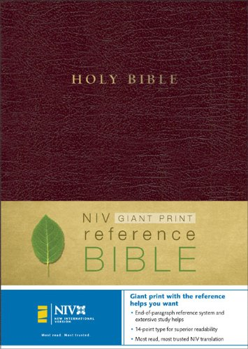 9780310924609: NIV Holy Bible Giant Print Reference Edition, Thumb Indexed, Burgundy Leather-Look