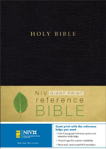 9780310924616: NIV Holy Bible Giant Print Reference Edition, Black Leather-Look