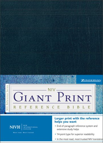 9780310924630: NIV Holy Bible Giant Print Reference Edition, Navy Leather-Look