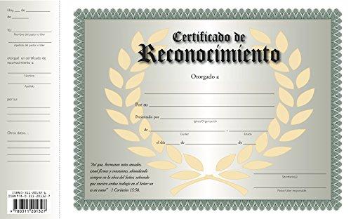 Certificado de Reconocimiento (Spanish Edition): Casa Bautista De