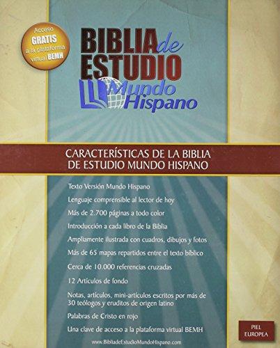 9780311488919: Biblia de Estudio Mundo Hispano (Tapa Piel Europea) (Spanish Edition)