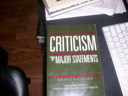 Criticism: Major Statements: Charles Kaplan; Editor-William