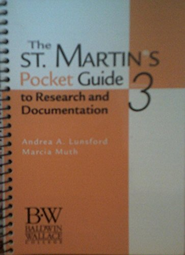 The St. Martin's Pocket Guide to Research and Documentation (9780312438104) by Andrea A. Lunsford; Robert J. Connors; Marcia Muth