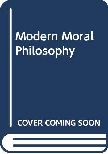 Modern Moral Philosophy: Hudson, W. D.