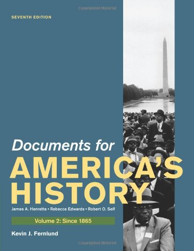 9780312648633: Documents for America's History, Volume II: Since 1865