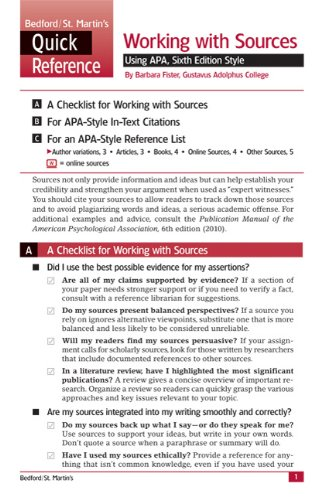9780312653569 working with sources using apa sixth edition style