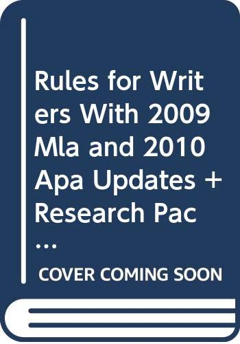 9780312668068: Rules for Writers With 2009 Mla and 2010 Apa Updates + Research Pack With 2010 Update