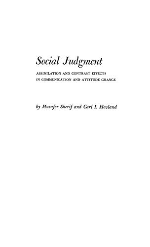 9780313224386: Social Judgment: Assimilation and Contrast Effects in Communication and Attitude Change (Yale Studies in Attitude and Communication)