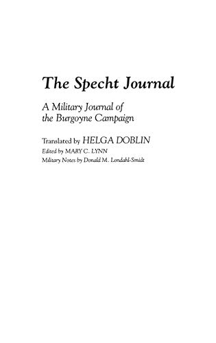 9780313294464: The Specht Journal: A Military Journal of the Burgoyne Campaign (Contributions in Military Studies)