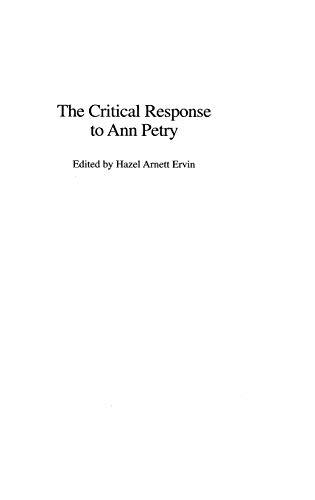 The Critical Response to Ann Petry (Critical Responses in Arts and Letters)