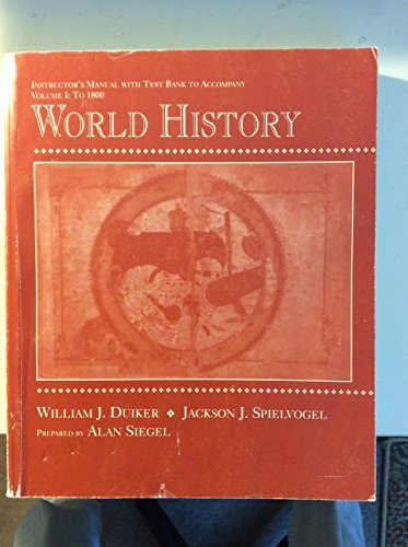 Instructor's Manual with Test Bank to accompany Duiker & Spielvogel's World History, Vol. 1: To 1800 (0314032711) by Alan Siegel; Jackson J. Spielvogel; William J. Duiker