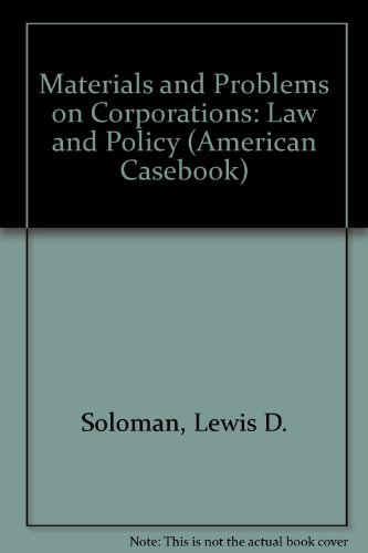 9780314037176: Corporations Law and Policy: Materials and Problems (American Casebook)