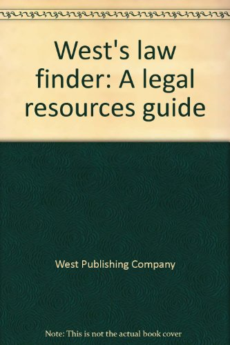 9780314098986: West's law finder: A legal resources guide