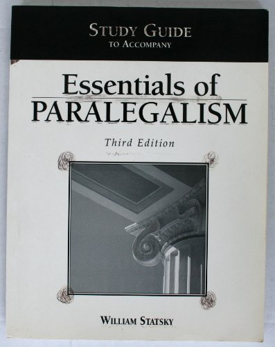 9780314130242: Study Guide to Accompany Essentials of Paralegalism (Third Edition)