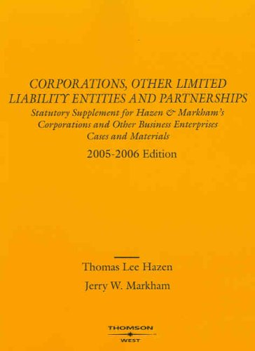 9780314162120: Corporations and Other Limited Liability Entities and Partnerships