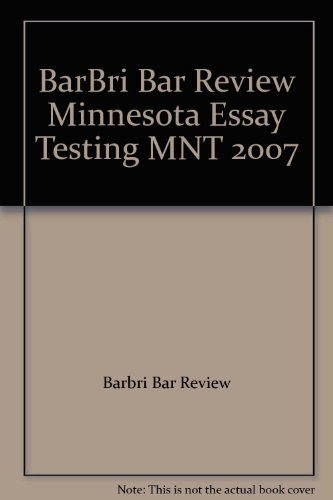 BarBri Bar Review Minnesota Essay Testing MNT: Barbri Bar Review