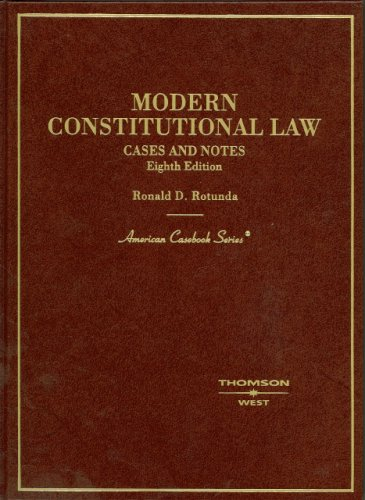 9780314180124: Modern Constitutional Law, Cases and Notes (American Casebook Series)