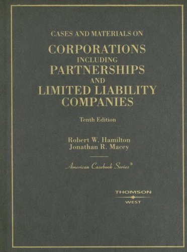 9780314180742: Cases and Materials on Corporations Including Partnerships and Limited Liability Companies (American Casebook)