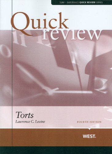 9780314180995: Sum and Substance Quick Review on Torts (Quick Review Series)