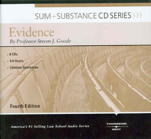 9780314189530: Sum & Substance Audio on Evidence (CD) (Sum + Substance CD Series) (Sum and Substance Audio)