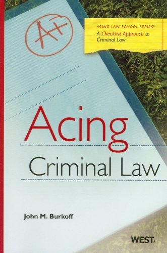 9780314190369: Acing Criminal Law: A Checklist Approach to Criminal Law