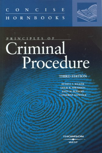9780314190925: Principles of Criminal Procedure (Concise Hornbooks)
