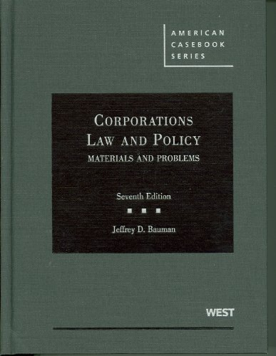 9780314191380: Corporations, Law and Policy: Materials and Problems (American Casebook)