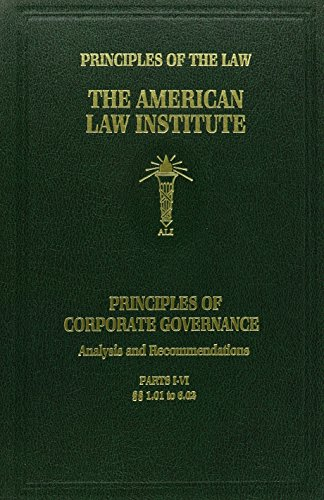 9780314194138: Principles of Corporate Governance: Analysis and Recommendations (Principles of the Law)