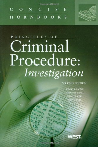 9780314199355: Principles of Criminal Procedure: Investigation (Concise Hornbook Series)