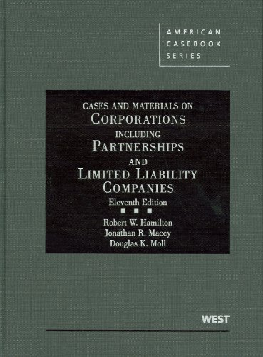 9780314205162: Cases and Materials on Corporations Including Partnerships and Limited Liability Companies