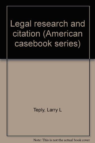 9780314239532: Legal research and citation (American casebook series)